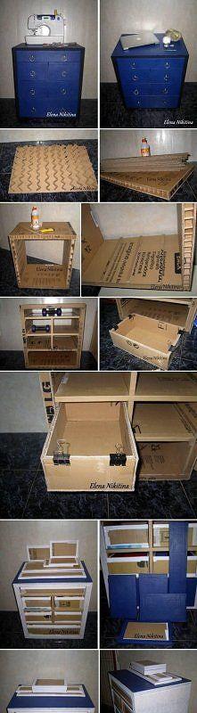diy, cardboard, chest, drawer, tutorial
