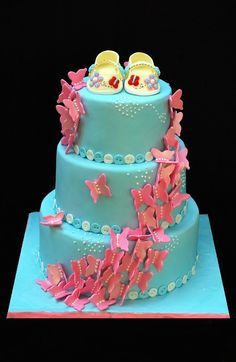 Pretty Buttterfly theme baby cake...would probably only do for a girl and leave out the blue.