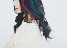 Black with purple/violet, blue, green highlights...would like to do this but instead of black, my brown hair
