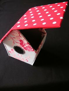 Fabric lined house shaped box tutorial