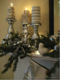 Mercury Glass Candle sticks & Ornament Display