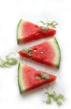Tequila-Soaked Watermelon with Basil-Salt.