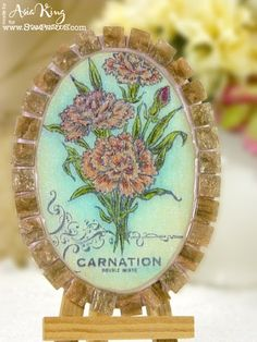 #Handmade #plant label using #Envirotex #jewelry resin and clay and #Stampendous stamps by Asia King