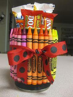 teacher gifts, peac offer, craft, crayon, diy gift