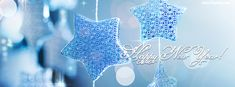 Happy New Year Blue Silver Stars Facebook Cover CoverLayout.com