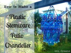 Turn plastic wine glasses into an outdoor chandy