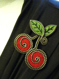 Felt and zipper cherries brooch