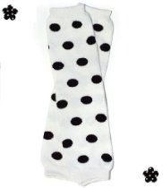 (#11) black polka dots baby girl leg warmers by My Little Legs