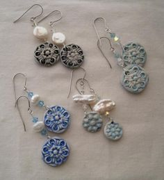 snowflake earrings. polymer, pearl, crystal