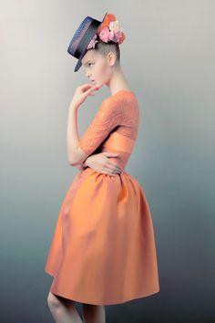 marie claire, orang, color, dress shapes, clair australia, fashion editorials, pink lemonade, jemma bain, hat