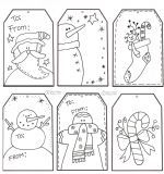 FREE Printable Christmas Tags for Kids to Color. Raggedy Scrappin ~ Whimsical Graphics and Printables by Artist Cheryl Seslar.