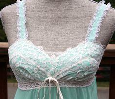 RARE Spectacular vintage 70s OLGA nightgown mint green aqua size Small. $52.00, via Etsy.
