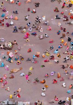 aerial photo of market in Vrindavan, India by Katrin Korfmann