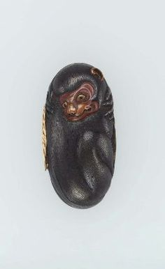 Kashira ( top of the handle of the sword ) in the form of a monkey  Japanese, Edo Period.