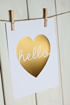 Hello Heart, Gold Foil via ssprintshop.com
