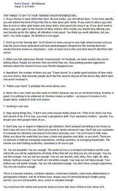 Kat's Closet - Ten Things To Say To Your Teenage Daughter / Niece / Girl