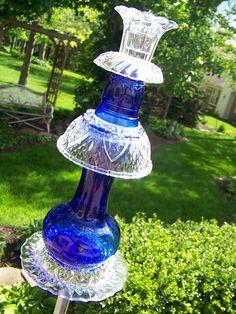 glassware garden art
