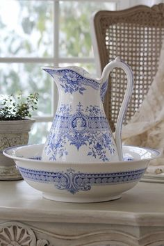 Pretty wash bowl and pitcher