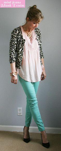 mint jeans - powder pink tunic - leopard cardigan!!!!!!???? wear mint, pink tunic, anim print, mint cardigan, leopard cardigan, mint jean, animal prints