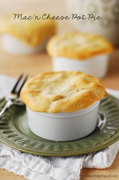 Macaroni and Cheese Pot Pie with @Sue-Ann Metz Garlic Butter Crescents on top!