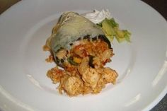 chicken stuffed poblano peppers, with cream cheese...yum