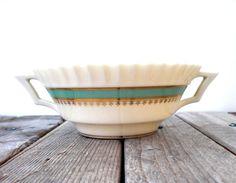 Vintage Lenox bowl. Serving dish. Handpainted gold trim. Art Deco design.