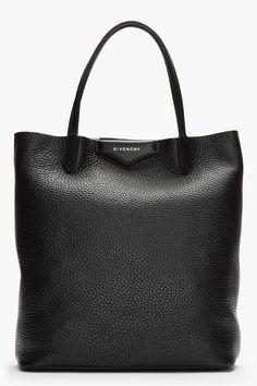 GIVENCHY Black & White Leather Antigona Shopper Tote