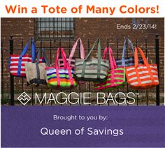 Win Maggie Bags seatbelt tote! Maggie Bags Tote of Many Colors #giveaway @Queen of Savings