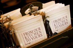 recipe booklets with measuring spoon favours