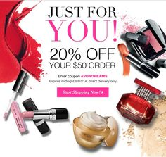 Avon Offers: Pick your VIP Online Promo: Save 20% on your $50 order - use code: AVONDREAMS http://www.makeupmarketingonline.com/avon-offers-pick-vip-online-promo/ #avon #coupon #sale