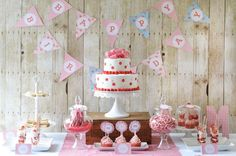 Red Gingham 60th birthday party dessert table!  See more party planning ideas at CatchMyParty.com!