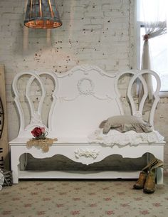 Painted Cottage Chic Shabby White Handmade Farmhouse Bench BCH decor, headboard, benches, cottage chic, shabby chic, chic shabbi, shabbi chic, vintage furniture, cottag chic