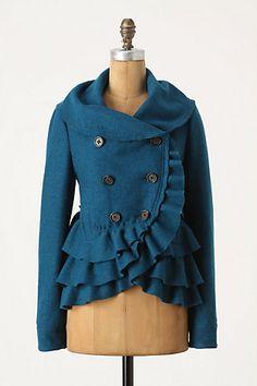 Teal ruffled pea coat >> Lovely!