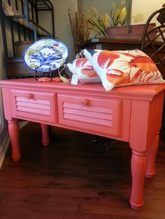 So Coral - just perfect for an entry table or storage in a bathroom… TCC $249.00 Sold!!