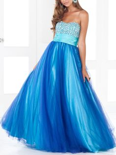 2012 decent Vintage Flat Ruffle Beads Working Blue Satin Organza Floor Length Prom Dress [PD-4359]