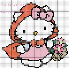 Hello Kitty Little Red Riding Hood hama perler beads