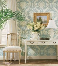 Country French Style rooms mostly dedicated to wallpaper and matching upholstery.