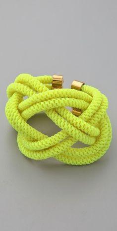 Noir Jewelry Shaka Neon Knot Bracelet $143 #fashion #accessories #bracelet #jewelry #yellow #neon #fluro #bright #gold #style #stylish #chic #modern #spring #summer #trend
