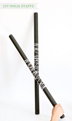 How to Make Ninja Staffs at OneCharmingParty.com #tutorial #ninjaparty #ninjaweapons