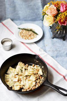 Homemade Pasta - Taleggio Agnolotti in Walnut & Thyme Brown Butter Sauce