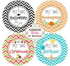 Baby Monthly Onesie Sticker Baby Boy Girl Month Stickers Baby Milestone Stickers Baby Shower Gift Neutral Chevron - Baby's First Holidays