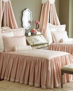 Pink bedspreads in little girls room