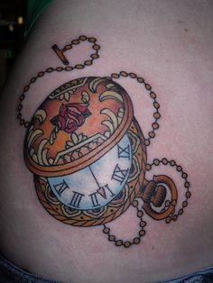 pocket watch tattoo, same style in blue and light grey