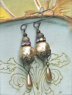 Gypsy  Bride Ornate Pearl Earrings by sweetruin on Etsy