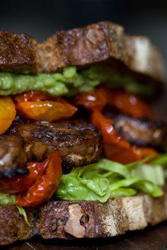 TLT (tempeh, lettuce & tomato sandwich)