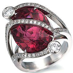 Rubellite and Diamond Ring