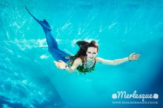 Underwater photograph of professional mermaid Lorelei of the Merlesque mermaid troupe in Cambridge, UK. Find out more at: http://www.realmermaids.co.uk