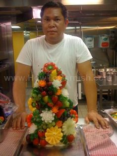 Fruit and Vegetables toothpicked onto a styrofoam tree form