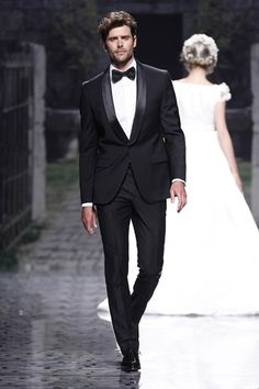 Browse suits for grooms, tuxedos, morning suits and other wedding styles for men (BridesMagazine.co.uk)#!photo784713 Black Wedding Tux, Mens Wedding Tuxedo,  Suits Of Clothing, Groomsmen Tuxedos Black, Bespoke Suits, Style Tuxedos, Custom Shirts, Bespoke Clothing, Martin Greenfield
