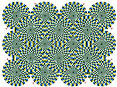 "Image by Akiyoshi Kitaoka - for reference in ""Op Art"" lecture.   ""In this perceptual illusion, regions of the image in peripheral vision appear to be in motion. In fact, the entire image is static."""